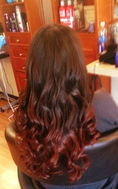 Brown to red ombre curls and waves done by Chris k. Chriskstylist on Instagram