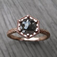 Rose Cut Diamond Engagement Ring: Feather & by KristinCoffin
