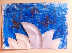 The Sydney Opera House  Another great Australia Day art and craft idea!  The children painted the night sky and fashioned stars using PVA glue.  Collages are a great way for children to explore textures