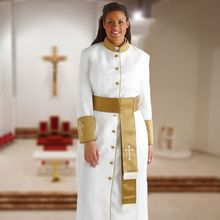 Ladies White and Gold Clergy Robe with Matching Cincture Belt in Gold White   b64adbb19