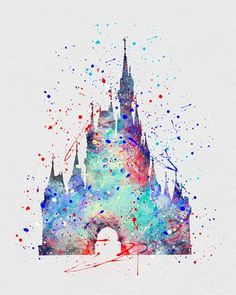 Cinderella Castle Watercolor Art - VividEditions. MF