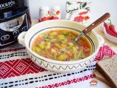 Ciorba de fasole verde si dovlecei la slow cooker Crock-Pot L - imagine 1 mare Vegan Foods, Cheeseburger Chowder, Crockpot, Slow Cooker, Cooking, Ethnic Recipes, Soups, Green, Kochen