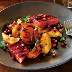 Grilled Fruit Salad with Pomegranate Arils  ~  #POMWonderful  #TheWonderfuls  #Crowdtappers