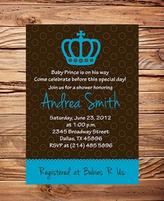 Prince Baby Shower Invitation, Prince Crown baby shower , Baby Shower Prince, Boy, baby prince shower invitation, digital, printable. $18.00, via Etsy.