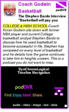 "#COLLEGE #PODCAST  Coach Godwin Basketball Training Podcast    The Stephen Bardo Interview ""Basketball will pay you back""    LISTEN...  http://podDVR.COM/?c=523451a3-98a2-6ee9-6177-f8c8ceecea36"