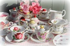 """Mismatched tea sets are perfect for pixie parties. You know how fairies like to re-purpose """"lost"""" things."""
