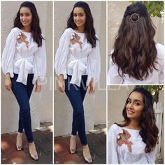 Shraddha Kapoor kept it simple and casual for one of the promotional events for her upcoming film 'Half Girlfriend' recently.She wore a bird embroidered white tie knot top by Sonaakshi Raana Bollywood Outfits, Bollywood Fashion, Look Fashion, Indian Fashion, Fashion Tips, Fashion Trends, Shraddha Kapoor Cute, Bollywood Celebrities, Bollywood Actress