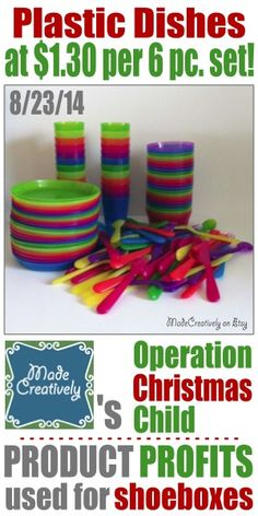 A Deal On Dishes | MadeCreatively | Purchased 16 packs of kids plastic dishes at IKEA for $1.99 each! We ended up with 24 sets of: a cup, bowl, plate, fork, knife and spoon. These brightly colored dish sets will go into our Operation Christmas Child shoeboxes!