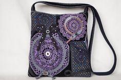 Violet black crocheted lace bag medium size bag by bokrisztina