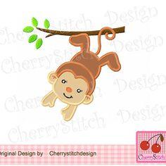 Monkey 02-hanging monkey Digital embroidery by CherryStitchDesign