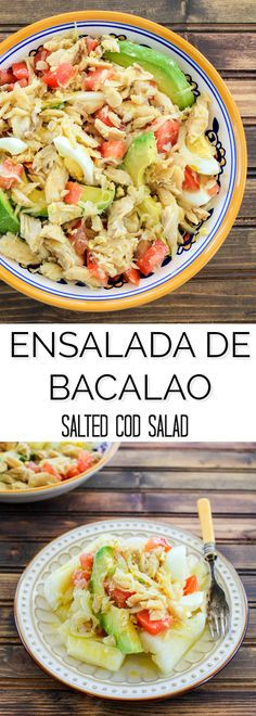 Ensalada de Bacalao (Salted Cod Salad) | TheNoshery Salted Cod Fish Recipe, Salt Cod Recipe, Cod Fish Recipes, Seafood Recipes, Cooking Recipes, Healthy Recipes, Snack Recipes, Boricua Recipes, Comida Boricua