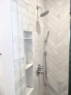 Small shower ideas Shower niche shelf Carrara ma – My World White Subway Tile Shower, Subway Tile Showers, Marble Showers, Bathroom Showers, Shower Niche, Diy Shower, Shower Ideas, Shower Alcove, Shower Storage