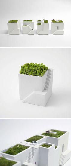 Miniature modern home planters .