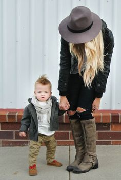 Love this blog for her son's fashions and hers! If I ever have a boy, baby mohawk is a go