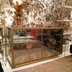 Worlds Away Calypso chest with hand applied gold leaf & antique mirror & hand carved hardware. High Point Market Fall 2014 Designs We Love at Design Connection, Inc.   Kansas City Interior Design http://www.DesignConnectionInc.com/Blog #HPMkt #HPMkt2014 #InteriorDesign
