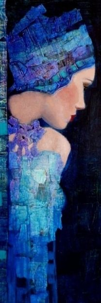 stunning blue. ~I am obsessed with turned faces right now. I see these faces everywhere right now and I want to paint .them all! ~~K