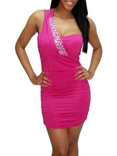 Pink One-Shoulder Pleated Lycra Spandex Club Dress - Clubwear - Women's Clothing