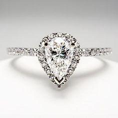 VS Pear Cut Diamond Halo Engagement Ring 14K White Gold