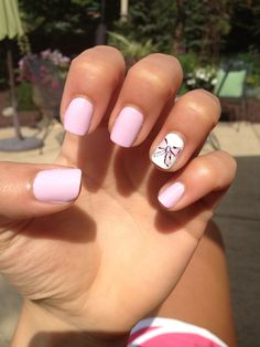 Light PINK nails with a cute BOW