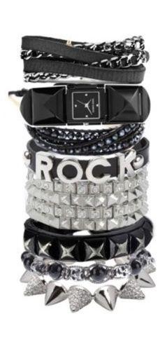Rocker Girl, Rocker Style, Everyday Rings, Glam Rock, Classy And Fabulous, Toxic Vision, Star Fashion, Hard Rock, Black Silver