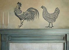 Dominique Chicken Stencil 2 Overlays - Easy wall Decor with Stencils Rooster Stencil, Rooster Decor, Expensive Wallpaper, Butterfly Stencil, Beautiful Chickens, Country Wall Decor, Large Stencils, Chickens And Roosters, Easy Wall