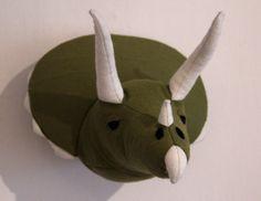 Filz Dinosaurier Kopf Triceratops Kopf Wanddeko von mimimade1