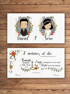 Invitación de boda de Un 6 y un 4 wedding illustration  #invitacióndeboda #boda #weddingillustration