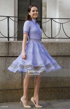Bailee Madison seen at The Arc, Skylight at Moynihan Station outside the Tadashi Shoji show wearing Tadashi Shoji lilac dress during New York Fashion Week: Women's Fall/Winter 2016 on February 12, 2016 in New York City.  (Photo by Georgie Wileman/Getty Images)