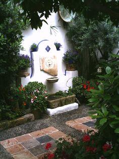 Cordoba patio garden with fountain