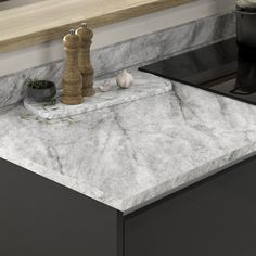 Looking for marble countertops ideas? Our Tempest Grey Marble Effect Laminate Worktop looks amazing when paired with black kitchen cabinets. These marble effect kitchen countertops are affordable and are a great alternative to quartz worktops for a modern kitchen design. Howdens Worktops, Kitchen Worktops, Black Kitchen Cabinets, Kitchen Tops, Black Kitchens, Marble Effect, Work Surface, Work Tops, Marble Countertops