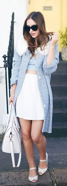 Mod Trend: Olivia Purvis is wearing a coat from Tara Starlet, skirt from Urban Outfitters, bag from Folli Follie, sunglasses from Celine and the shoes are from ASOS... | Style Inspiration