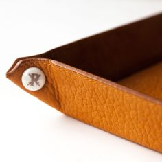 Hand-crafted leather valet tray by Parabellum, made from ethically sourced American Bison. $395