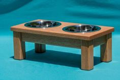 Elevated Dog Feeder 6 Two Stainless Steel 1 Quart Bowls Solid Oak Wood # Elevated Dog Feeder, Red Oak Wood, Dog Bowl Stand, Solid Oak, Wood Grain, Dog Bowls, Pet Supplies, Indoor, Stainless Steel