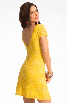 """PrettySecrets Sunny Yellow """"Big Night Out"""" Lace Bodycon Dress Price: Rs.1799"""