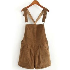 Solid Color Corduroy Pockets Overalls ($25) ❤ liked on Polyvore featuring jumpsuits, overall jumpsuit, brown jumpsuit, corduroy overalls, bib overalls and overall