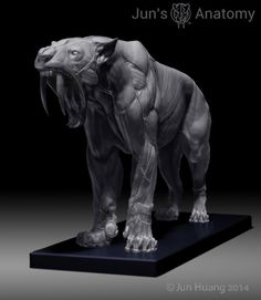 Smilodon in neutral standing pose with Mouth-Closed head.
