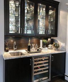 New Kitchen Backsplash Grey Cabinets Wet Bars Ideas Kitchen Wet Bar, New Kitchen, Kitchen Ideas, Kitchen Black, Kitchen Wood, Kitchen Small, Glass Kitchen, Small Sink, Grey Kitchens