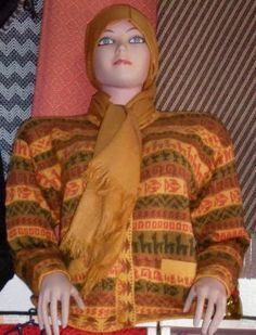 Inca motive cardigan with a scarf in a set, alpaca wool