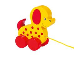 Natural and high quality toys to the development of the skills of children. Dog, pull along animal