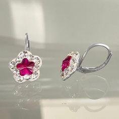 4744mm6 & Sm St Child Hook Earrings Type 1 Crystal - Fuchsia