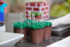 Minecraft chocolate pudding with green sprinkles for grass.