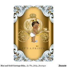 Blue and Gold Carriage Ethnic Prince Baby Shower 5x7 Paper Invitation Card