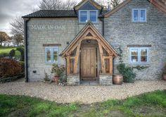 Made in Oak, Oak Framed Porches Cottage Style Doors, Cottage Front Doors, Cottage Porch, Bungalow Exterior, Dream House Exterior, Oak Framed Buildings, Oak Frame House, Front Porch Design, External Doors