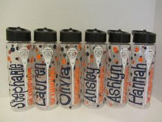 New clear plastic 24 ounce BPA free water bottles with inner straw and flip top. Available for lacrosse, football, basketball, volleyball and many