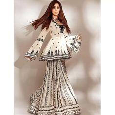 White georgette chain stich work sharara suit Bollywood Wedding, Bollywood Saree, Bollywood Fashion, Indie Fashion, Ethnic Fashion, Vintage Fashion, Indian Wedding Lehenga, Bridal Lehenga Choli, Pakistani Dress Design