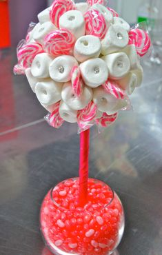 Pink White Marshmallow Lollipop Candy Land Centerpiece Topiary Tree, Candy Buffet Decor, Wedding, Mitzvah, via Etsy