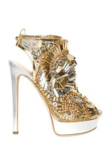 Extravagant Laminated Leather Beaded Sandals by Dsquared² Hot Shoes, Crazy Shoes, Me Too Shoes, Shoes Heels, High Heels, Gold Heels, Sexy Heels, Beaded Shoes, Beaded Sandals