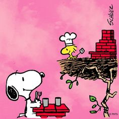 Woodstock Having a Barbeque in His Nest With Snoopy Sitting at the Picnic Table Waiting for the Food