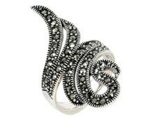 Filigree Marcasite Silver Ring Women's Art Deco Victorian Style Ladies Swarovski Marcasite with Oxidized Sterling Silver Ring FREE Shipping