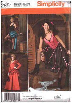 Simplicity Sewing Pattern 2851 Misses' Western Salon Dress Costumes Size: HH 6-8-10-12 Uncut
